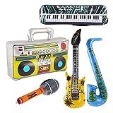 STOBOK - Juego de 5 Piezas de Juguetes hinchables Rockstar, Radio Musical, micrófono, Instrumentos, Juguetes, decoración (Color Aleatorio)