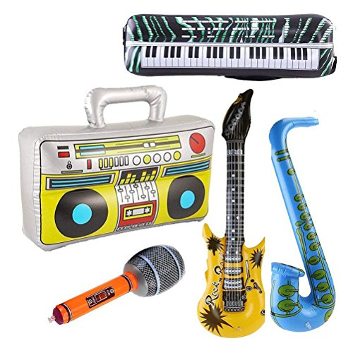 TOYMYTOY Inflatable Instrument Toys - Rock and Roll Party Supplies - Guitar, Microphone, Saxophone, Keyboard Piano, Radio 5 Piece