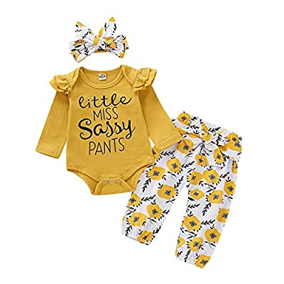 Infant Baby Girl Clothes Little Sassy Outfits Romper Bodysuit Floral Pants Baby Girl Fall Winter Clothing Outfit Sets 0-3 Months Yellow