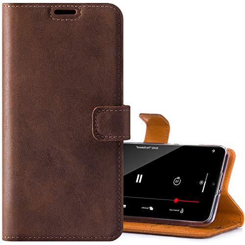 SURAZO Handyhülle für Samsung S21 Plus – Premium Echtleder Hülle Schutzhülle mit [Standfunktion, Kartenfach, RFID Schutz] – Klapphülle Wallet case Handmade für Samsung Galaxy S21 Plus 5G (Nussbraun)