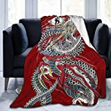 ANTOUZHE Mantas de Cama Yakuza Dragon Tattoo Fleece Blanket Ultra Soft Sherpa Blanket Wrinkle Resistant Throw Breathable Durable Travel Blanket Lightweight Decorative Blanket Travel Climbing