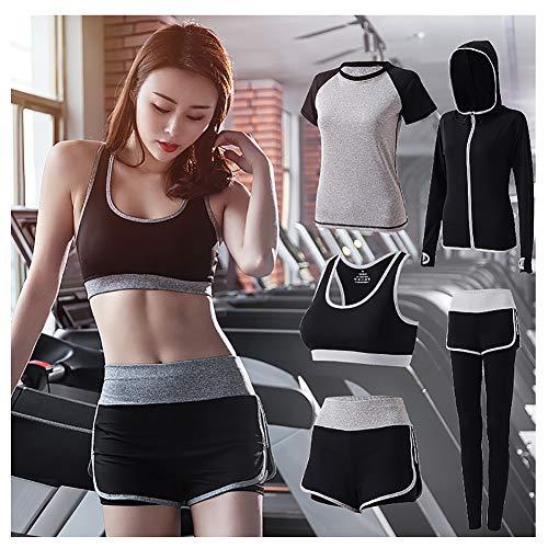 AFDLT Dames Yoga BH, Fitness Shorts, Sportbroek, hoge taille, sneldrogend, ademend, 5-delige set