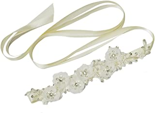Azaleas Women's Flower Pearls Bridal Bridesmaid Dresses Sash Belts Ivory One Size