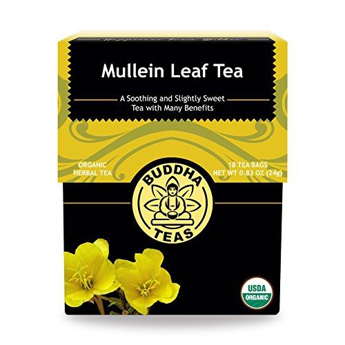 Buddha Teas Organic Mullein Leaf Tea  18 Tea Bags   No Caffeine   Made in the US