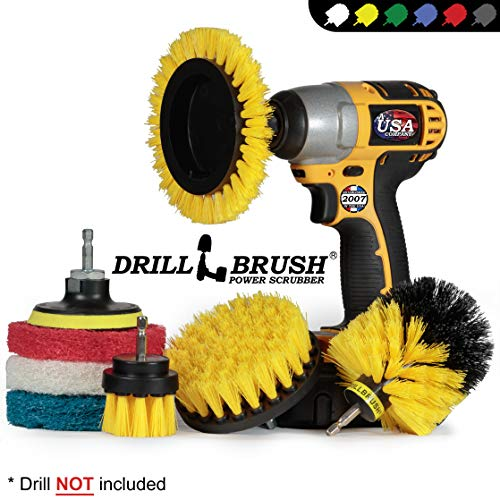 Drillbrush Rotary Brush Kit - Drill Brush Scrub Pads - Shower Scrubbing Brushes for Cordless Drill - Tile Cleaner Drill Attachment Commercial Scouring Pad Cleaning Kit - All Purpose Bathroom Scrubbers