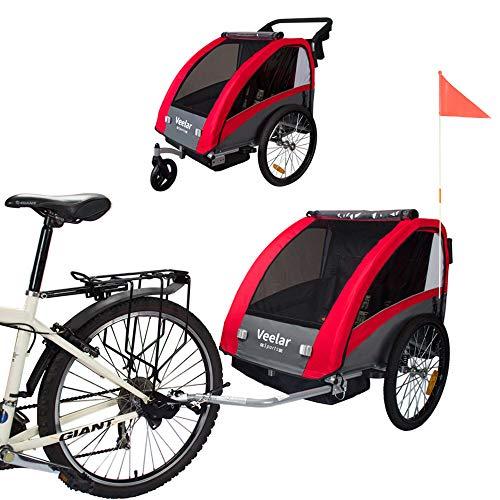 Veelar Sports 2 in 1 Kinderanhänger Fahrradanhänger Anhänger mit Buggy Set + Federung BT603-D01 ROT