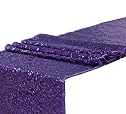Long Purple Sequin Graduation Table Runner Decorations