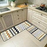 OPLJ Felpudo de baño Alfombra geométrica de Cocina Alfombras nórdicas Antideslizantes para Sala de Estar Balcón Juego de alfombras de baño A4 50x80cm + 50x160cm