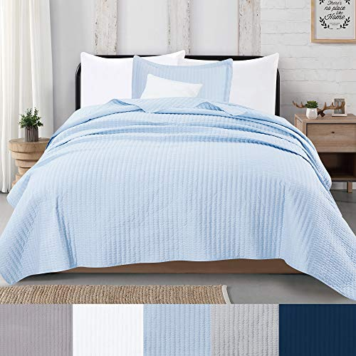 Great Bay Home 2-Piece Detailed Channel Stitch Quilt Set with Shams. Baby Blue Twin Quilt Set, All Season Bedspread Quilt Set, Alicia Collection (Twin, Baby Blue)