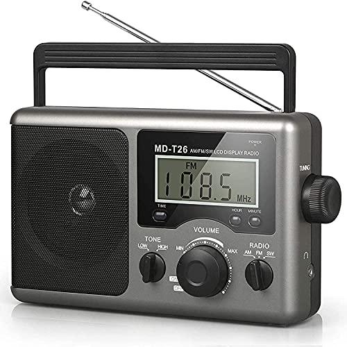 Radio Portátil De Onda Corta, Radio De Transistores Am FM con La Mejor Recepción, Funciona con Pilas De 4 Pilas D O Alimentación De CA, Altavoz Grande, Conector para Auriculares para Regalo