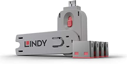 lindy usb port blocker red