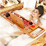Your Majesty YM Lux Craft Bamboo Bathtub Caddy Tray [Durable, Non-Slip], 1-2 Adults Expandable...