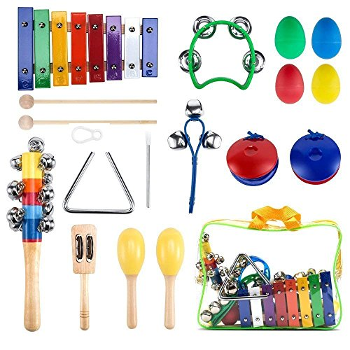 WONYERED Kids 11PCS Musical Instruments for Toddlers Maracas Shakers Xylophone Percussion Baby Toy Set Preschool Educational Early Learning Rhythm Tools