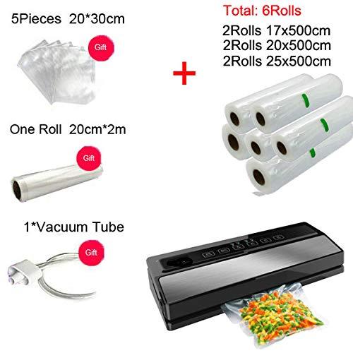 LWQ Automatische 110W Vakuum, Siegelmaschine Hause Best Vakuumierer Frischverpackungsmaschine Food Saver Vakuum-Packer Mit 1ROLL Bag,Dg1720