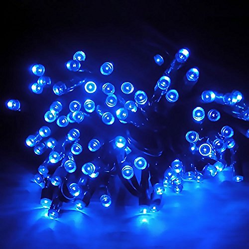 XZB Solar String Lights,100 LED 8 Modes Solar Fairy Lights Lamps,Christmas Party Wedding Yard and Holiday Decorations Solar Powered Waterproof Globe Garden Lights (Color : Blue)