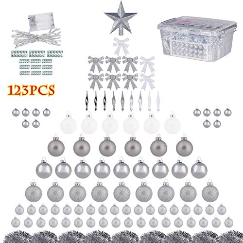 123 Piece Assorted Christmas Tree Ornaments Set, Ornament Decorations for Festive Party Wedding Celebration Birthday