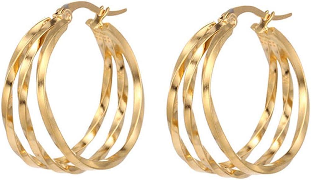 Matte Gold Twisted Hoop Earrings for Women Hypoallergenic Dainty Open Chunky Hoop Earrings Jewelry Gift