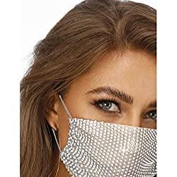 White Cloth & Rhinestone Masquerade Ball Mesh Face Mask