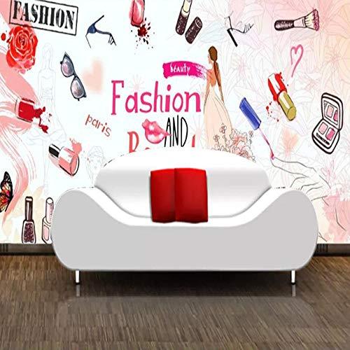 Europa und die Vereinigten Staaten 3D handgemalte Nagelladen Make-up Shop Sofa Hintergrund Wandmalerei Mode Aquarell Schönheit Kosm fototapete 3d Tapete effekt Vlies wandbild Schlafzimmer-350cm×256cm
