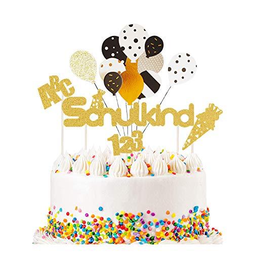 ENSTAB Schulanfang Tortendeko Schulkind ABC 123 Cupcake Topper Schulanfang Luftballons Kuchen Dekoration Einschulung Tortendeko Mädchen und Junge