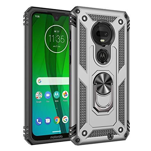 """Capa para Moto G7/G7 Plus, YINCANG híbrida PC + silicone TPU flexível com suporte giratório de 360° capa protetora com sucção magnética para Motorola Moto G7/G7 Plus 6,5"""" prata"""