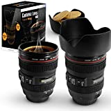 TrAdE Shop Traesio Tazza per Bevande A Forma di Obiettivo di Macchina Fotografica con Coperchio