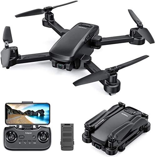 Tomzon D30 GPS Drohne mit 4K Kamera, 5G FPV Drohne, Faltbarer Drohne, Optischer Positionierung, 17min Flugzeit, Verfolgermodus, Automatische Rückkehr, Alarm bei niedrigem Akkustand für Innen und Außen