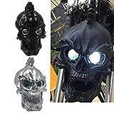 Motorcycle Skull Headlight Head Light Lamp LED Universal For Harley Honda (Black)