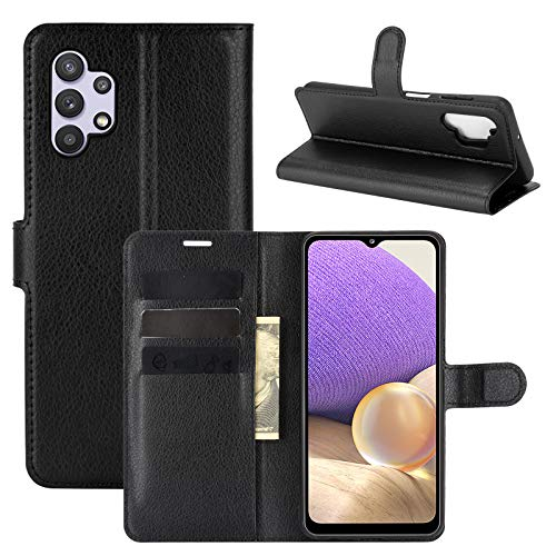 betterfon Funda para Samsung Galaxy A32 5G – Funda para Samsung A32 5G con función atril, ranuras para tarjetas, piel sintética negra