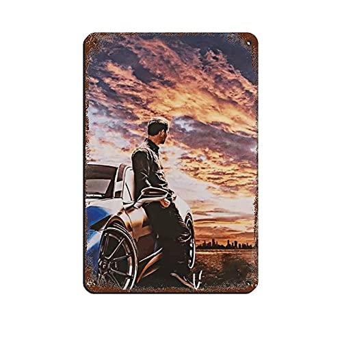 Paul Car Walker - Cartel retro de metal para colgar en la pared (20 x 30 cm)