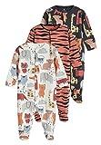 next Baby - Jungen Pyjamas mit Figuren- und Tigermuster 3er-Pk. Rost/Holzkohle 3-6 Monate