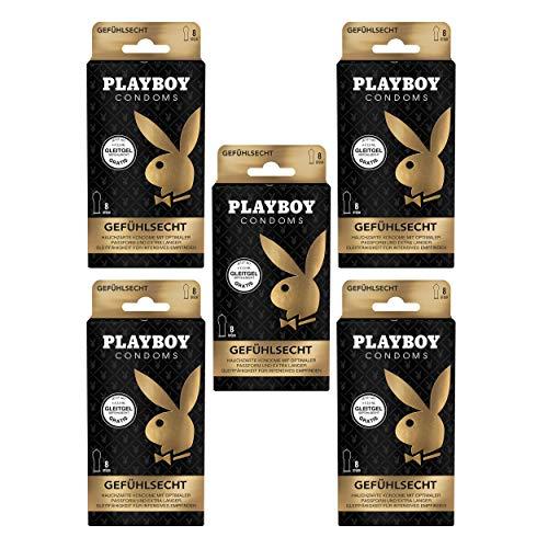 Playboy Condoms Kondome Gefühlsecht, Verhütungsmittel, Intensiv, mit Gleitgel gratis, 56 mm, 5 x 8 Stück