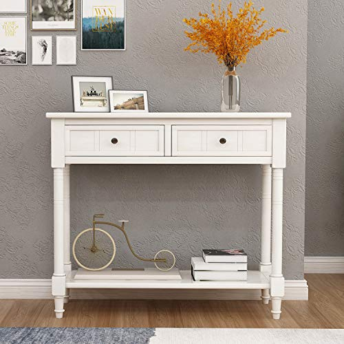 white antique console table - 5