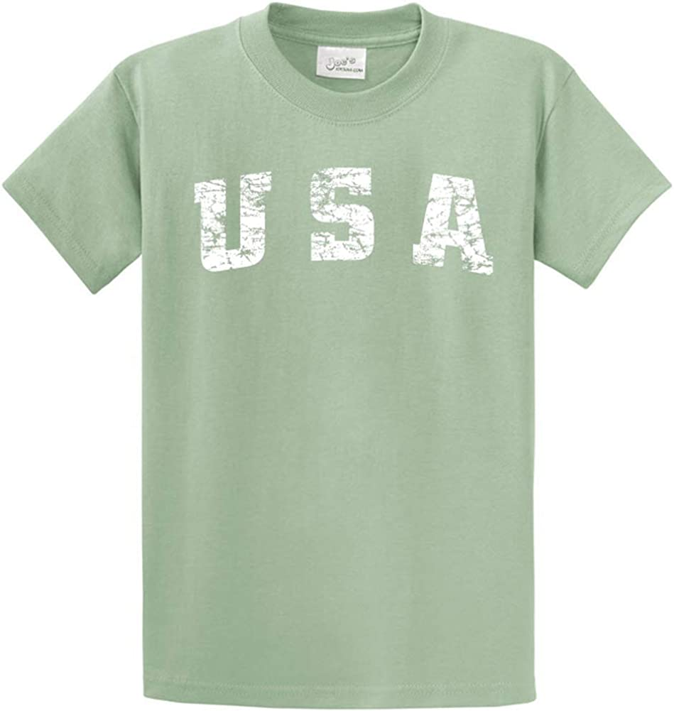 Joe's USA -Tall Vintage USA Logo Tee T-Shirts in Size 4X-Large Tall -4XLT Stonewashed Green