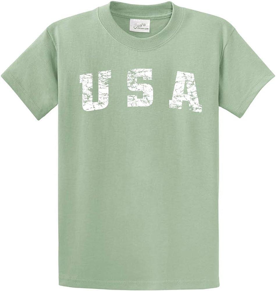 Joe's USA -Tall Vintage USA Logo Tee T-Shirts in Size Large Tall - LT Stonewashed Green