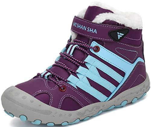 Mishansha Winterstiefel Jungen Wanderstiefel Mädchen Schneestiefel Warm Gefüttert rutschfeste Outdoor Boots für Kinder, Violett, 31 EU