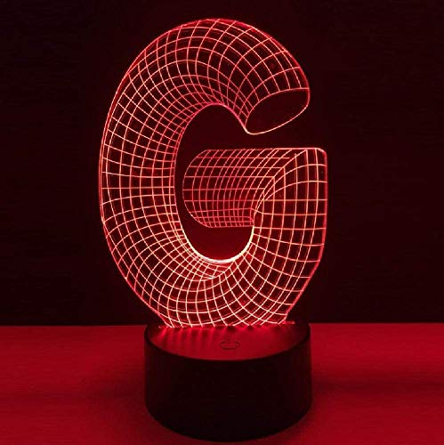 3D Lampe Alphabet G Multicolore Veilleuse Table De Bureau Accueil Bar Décor Cadeau De Noël