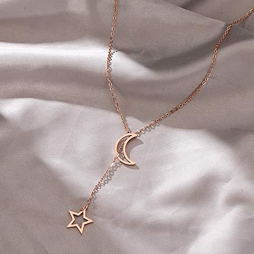 YQMR Colgante Collar para Mujer,Señoras Colgante Collar Oro Rosa Alto Polaco Estrella Luna Colgante Diseño Clásico Joyería Moda Hip Hop Regalo para Mujeres Parejas Cumpleaños