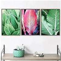 """植物のポスターとプリント、キャンバスの絵画新鮮なピンクグリーンの葉の壁の写真、リビングルームの家の装飾23.6"""" X 31.4""""(60x80cm)フレームなし3個"""