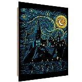 Fantasía por DDJVIGO cuadro decorativo - 40x60 cm - turquesa negro amarillo