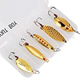 TROUTBOY 5Pcs Spoon Fishing Lure Spinnerbaits with Plastic Box - Portable Sequin Spinner Jig VIB Spoon Blade Baits Kit for Bass Trout Salmon Walleye Crappies Perch Fishing (Gold)