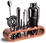 Mixology Bartender Kit: 10-Piece Black Bar Set Cocktail Shaker Set with Stylish Mahogany...