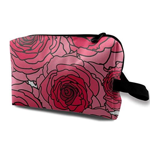 Sac de Toilette Accories pour Les Femmes Fleur Rose Organisateur avec Fermeture éclair