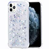 Flocute iPhone 11 Pro Max Case, iPhone 11 Pro Max Glitter Case Clear Bling Sparkle Floating Liquid Soft TPU Cushion Luxury Fashion Girly Women Cute Phone Case for iPhone 11 Pro Max (Silver)