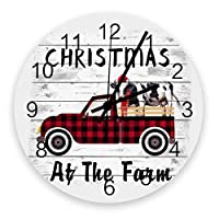 掛け時計 アメリカ クリスマス 農場 壁掛け時計 掛時計 静音 clock サイレント 壁時計 部屋 リビング 玄関 インテリア コンパクトサイズ 電池式 木掛け鐘 大数字 円形 贈り物 直径 30cm