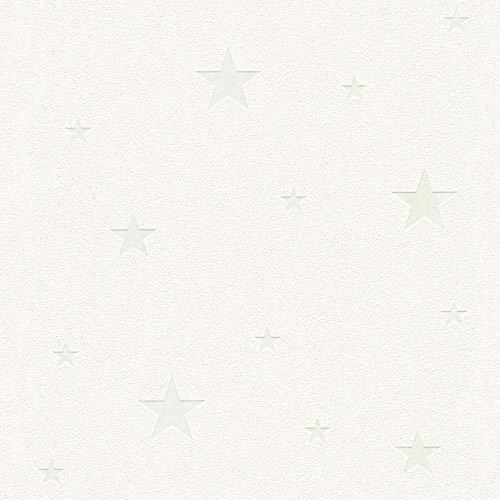 Papier peint phosphorescent | Papier peint étoile blanc qui brille la nuit 32440-1 | Papier peint enfant original intissé | En ligne !