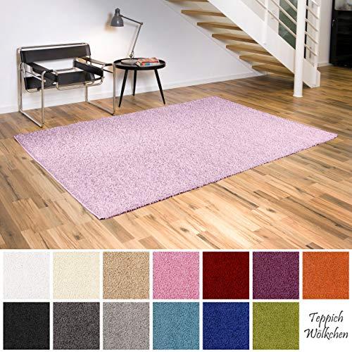 Teppich Wölkchen Shaggy-Teppich | Flauschige Hochflor Teppiche für Wohnzimmer Küche Flur Schlafzimmer oder Kinderzimmer | Einfarbig, schadstoffgeprüft, allergikergeeignet (Rosa Pastell, 60 x 90 cm)