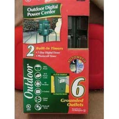 Westinghouse 28011 6-Outlet Outdoor Digital Power Station with Ground Stake with 6-Feet Cord, Green