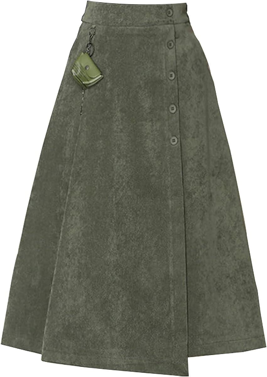 ATHX Women's Solid A-line Skirt Elastic High Waist Irregular Midi Skirt with Buttons