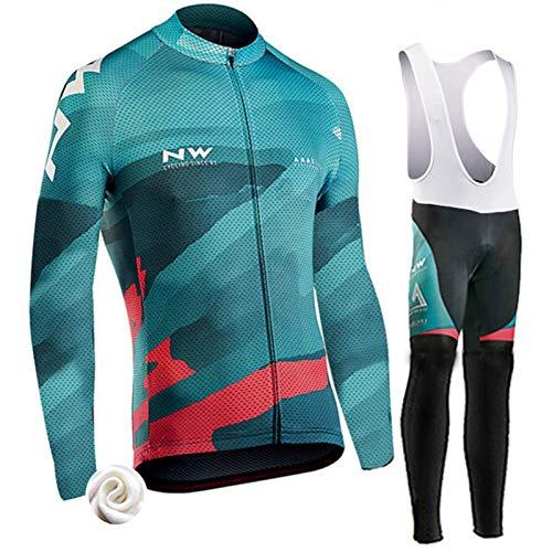 Jersey De Ciclismo para Hombre, Conjunto Combinado De Medias De Babero Acolchadas Térmicas De Invierno para MTB Road Bike Cross Country Mountain Bike Jersey (G,XXL)